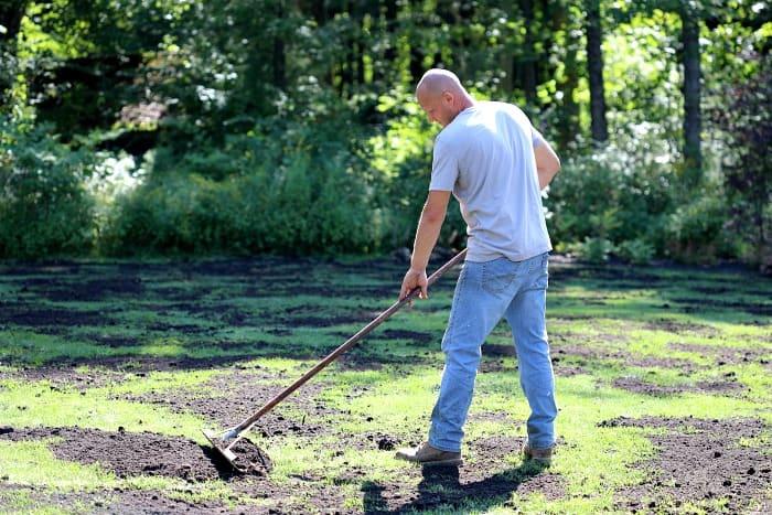 man raking black compost over lawn using aluminum landscape rake